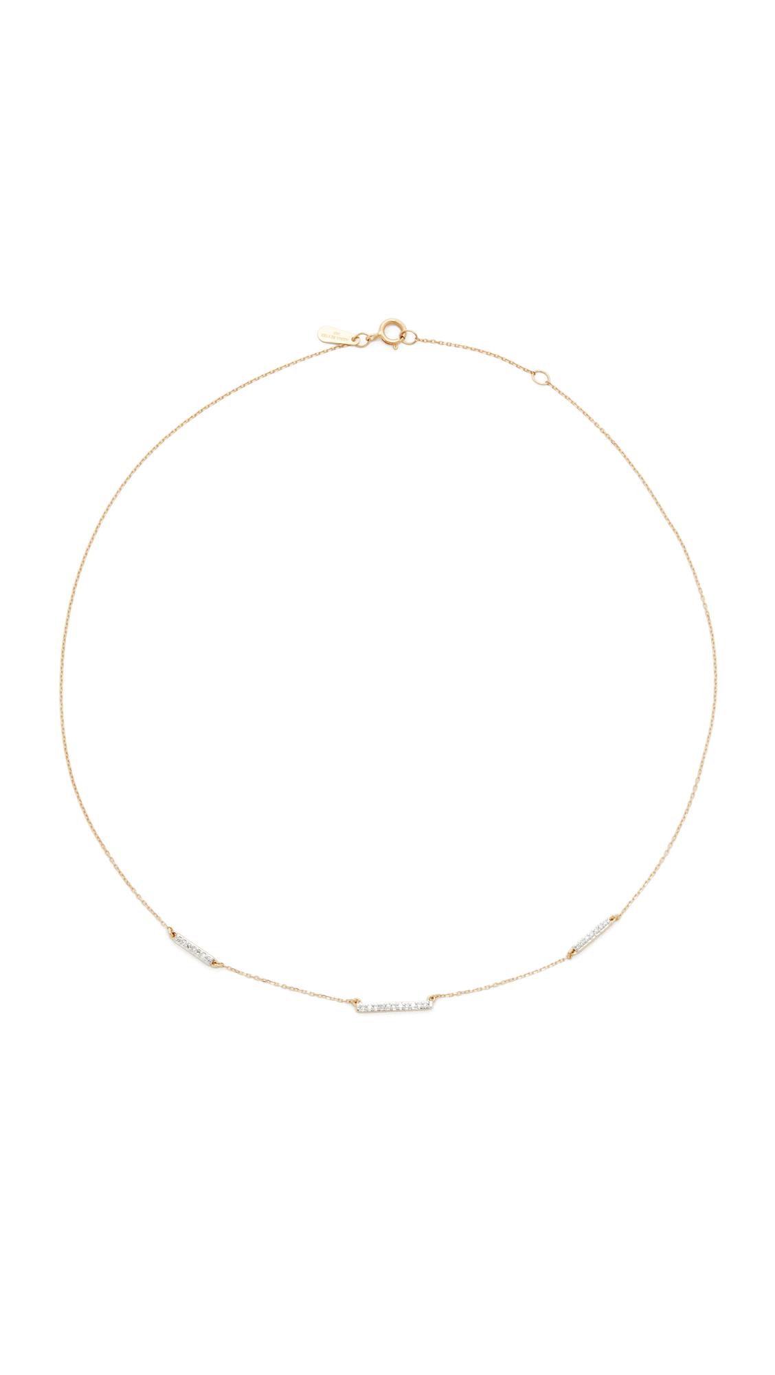 Adina Reyter 14k Gold Pave 3 Bar Chain Choker Necklace - Gold