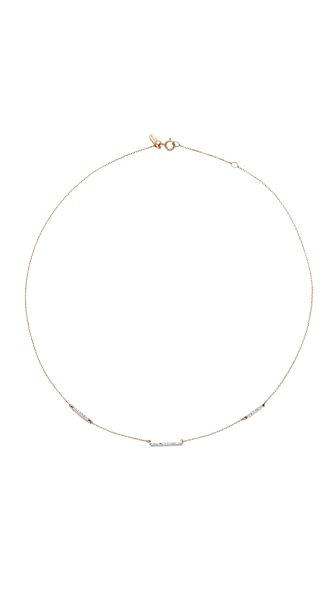 Adina Reyter 14k Gold Pave 3 Bar Chain Choker Necklace - Rose Gold
