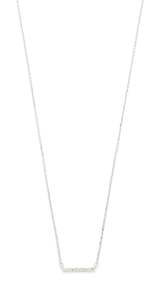 Adina Reyter 14k Gold Pave Bar Necklace - White Gold