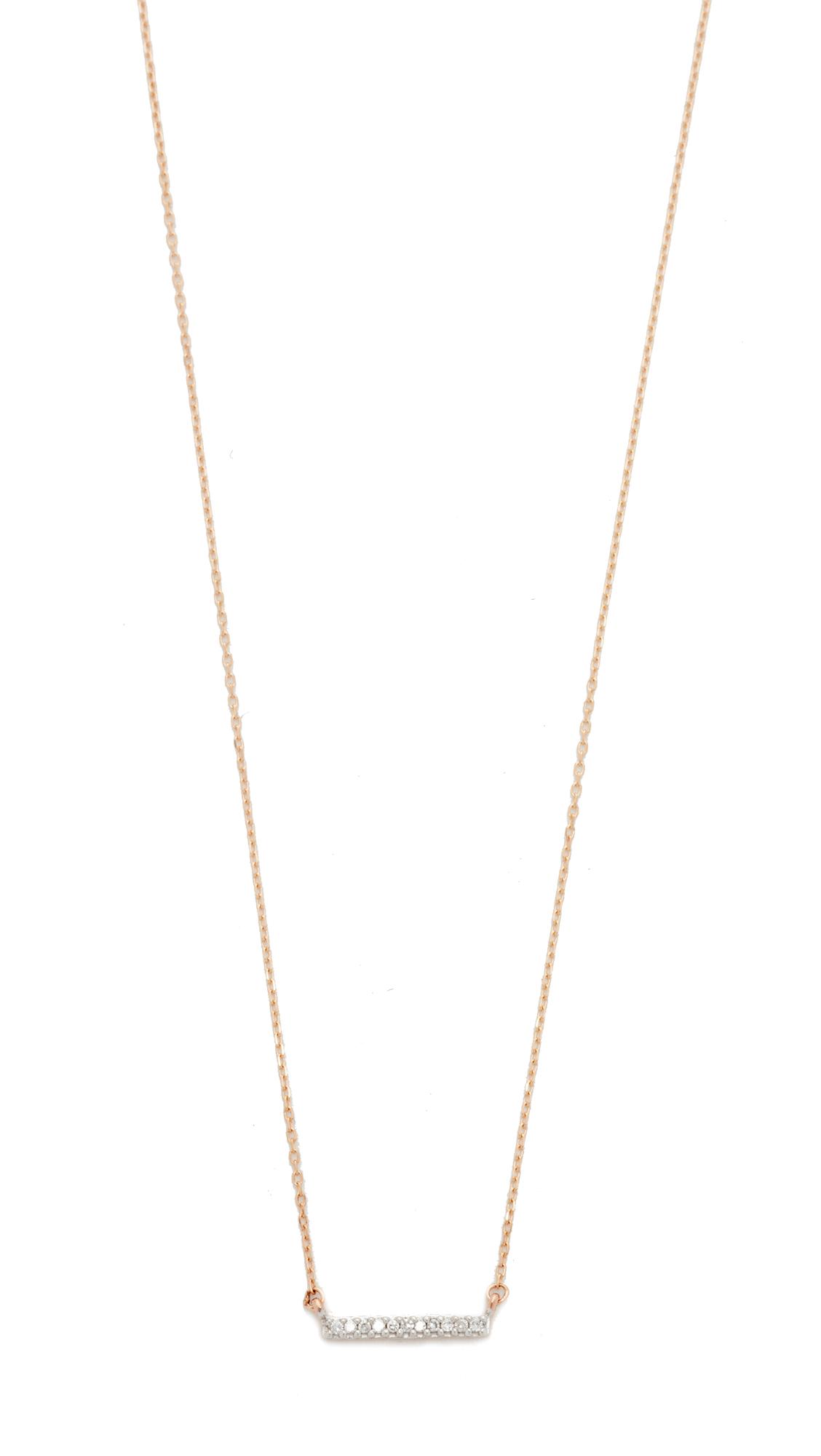Adina Reyter 14k Gold Pave Bar Necklace - Rose Gold
