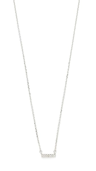 Adina Reyter 14k Gold Super Tiny Pave Bar Necklace - White Gold