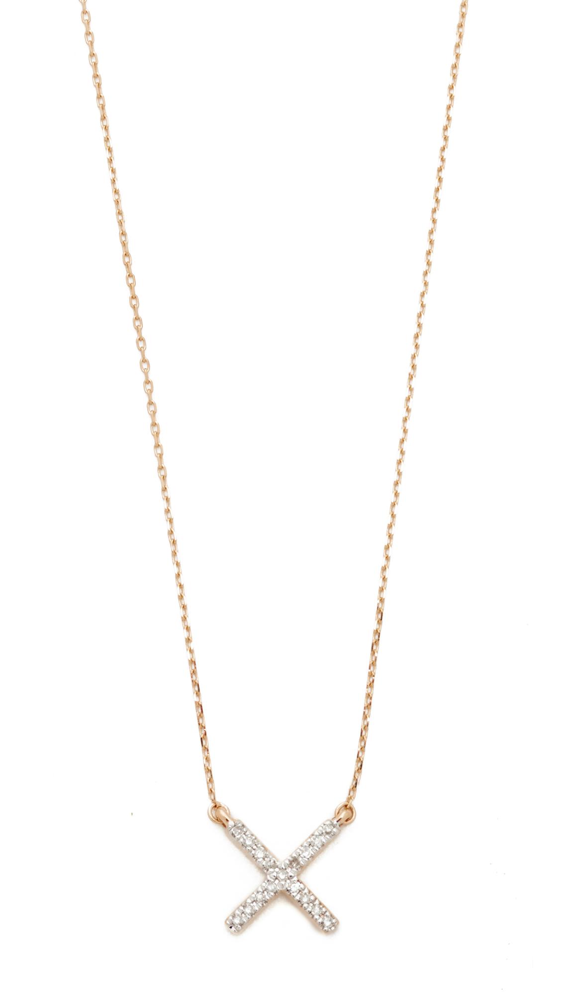 Adina Reyter 14k Gold Pave X Necklace - Gold