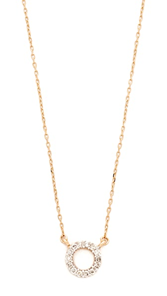Adina Reyter 14k Gold Super Tiny Pave Circle Necklace - Gold