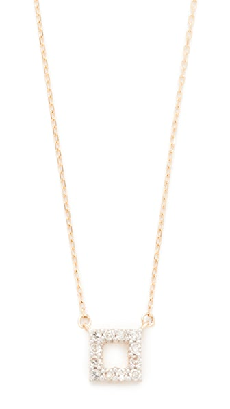 Adina Reyter Super Tiny Pave Square Necklace In Rose Gold