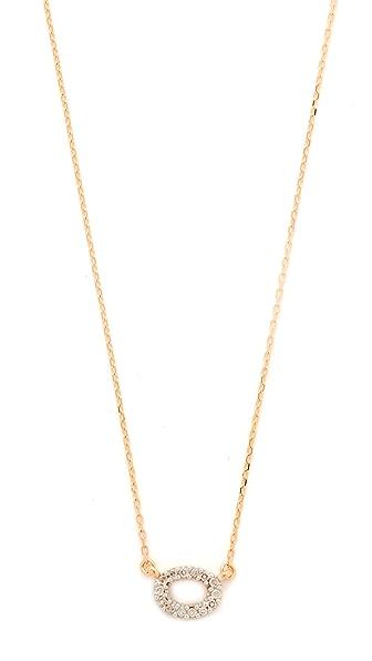 Adina Reyter 14k Gold Super Tiny Pave Oval Necklace - Rose Gold