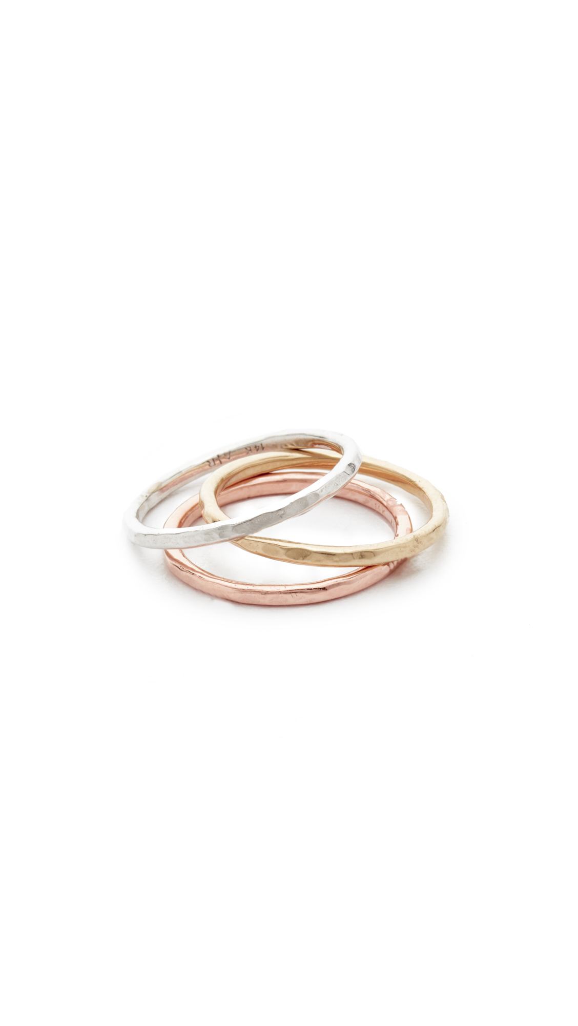 Adina Reyter Circle Stack Rings - Rose Gold/Gold/White Gold