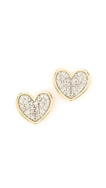Adina Reyter 14k Gold Folded Heart Post Earrings
