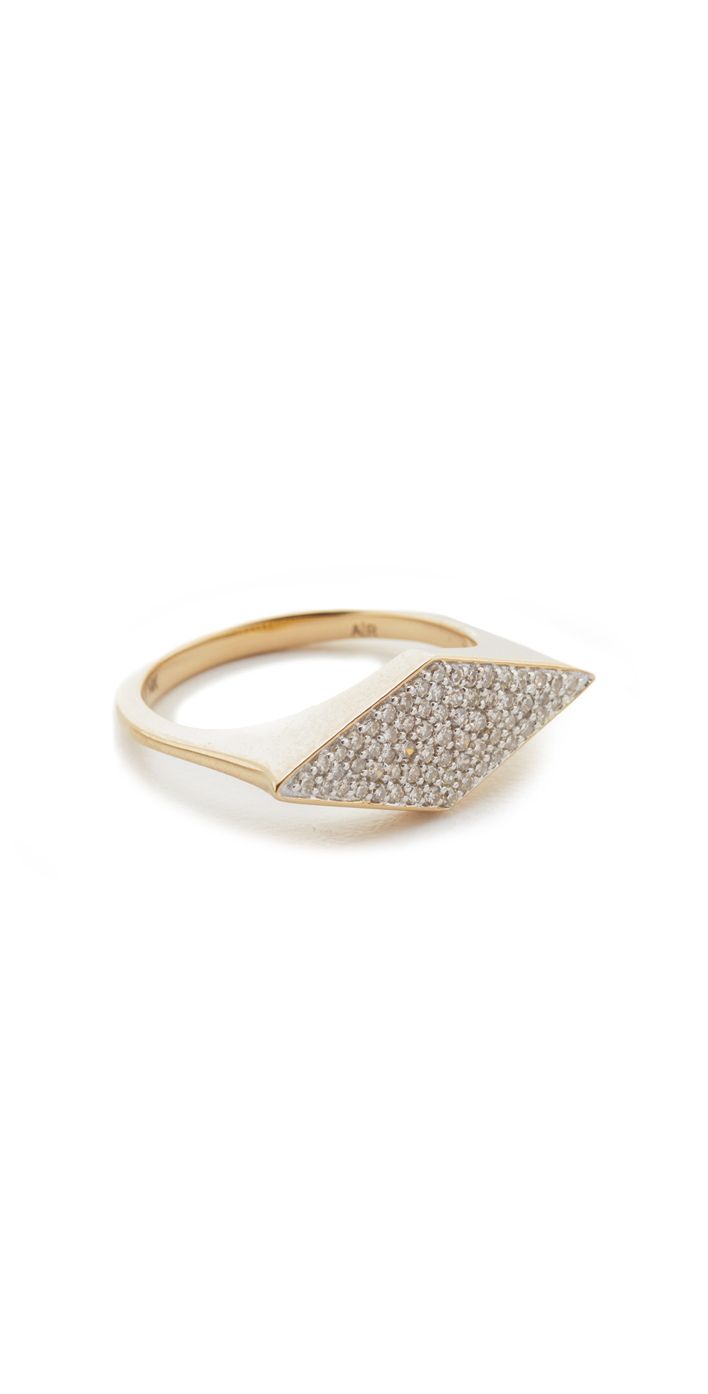 14k Gold Stretched Diamond Signet Ring Adina Reyter