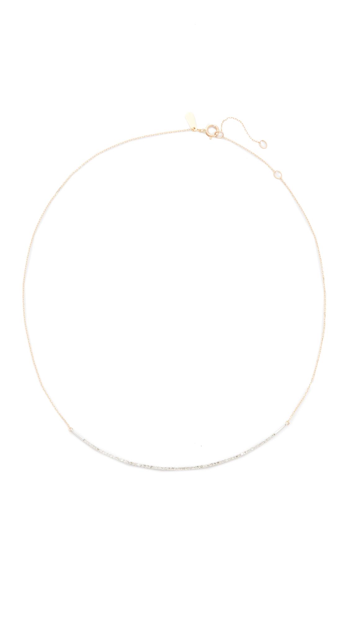 Adina Reyter 14k Gold Pave Curve Collar Necklace - Mixed Metals