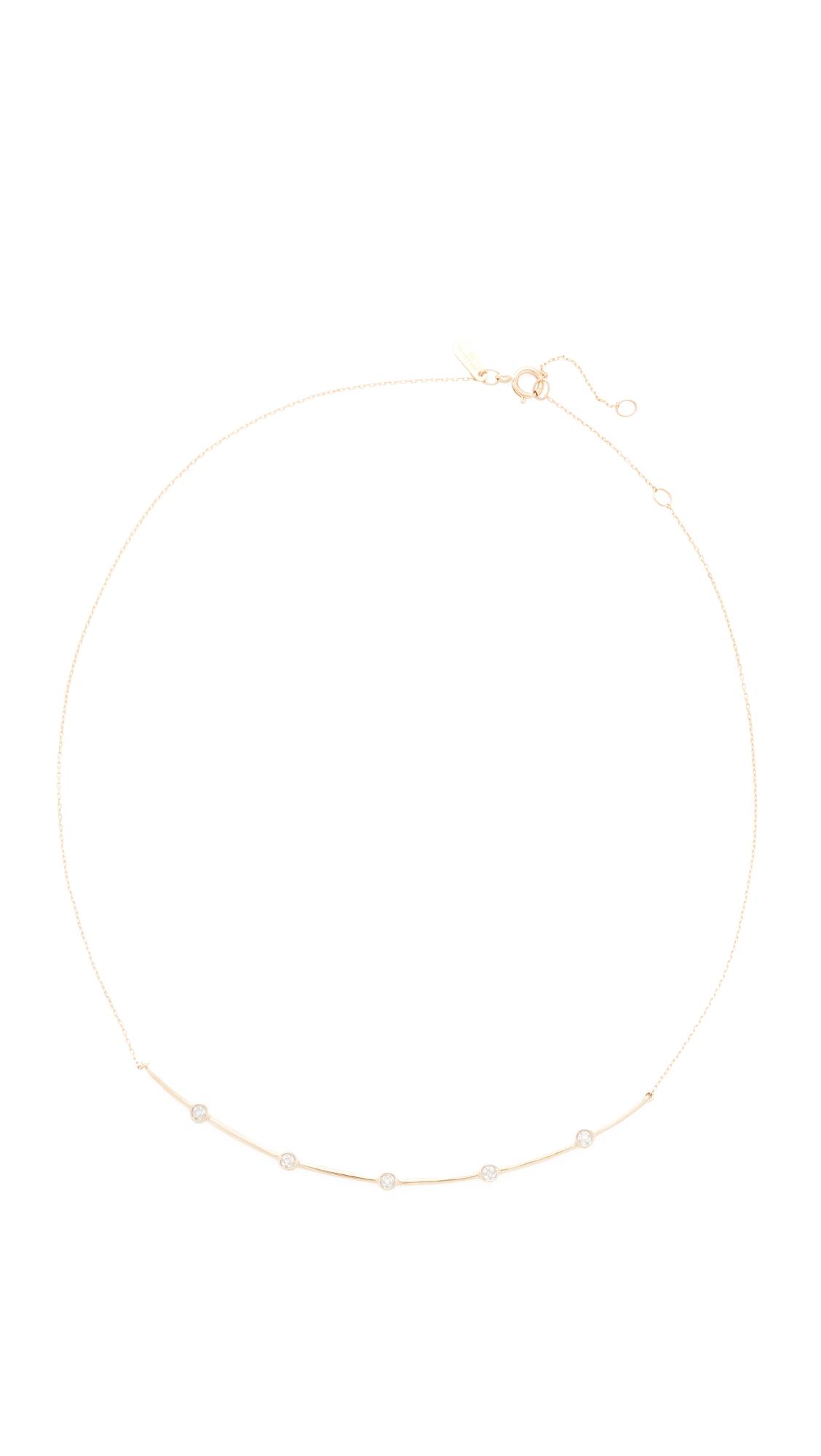 Adina Reyter 14k Gold 5 Diamond Curve Collar Necklace - Gold