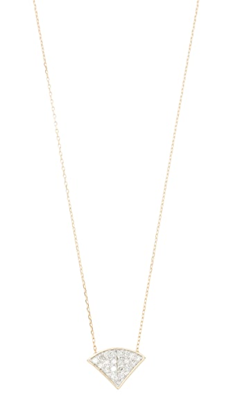Adina Reyter 14k Gold Pave Folded Fan Necklace In Gold