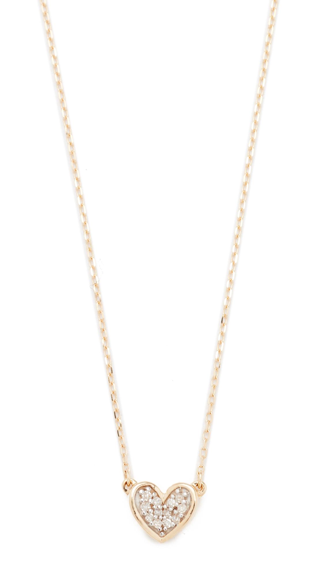 Adina Reyter Super Tiny Pave Folded Heart Necklace - Gold