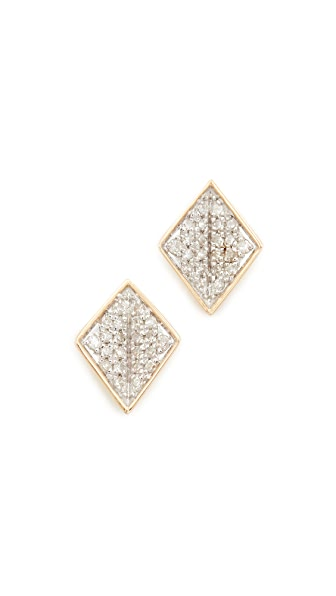 Adina Reyter 14k Gold Tiny Pave Folded Diamond Post Earrings - Gold