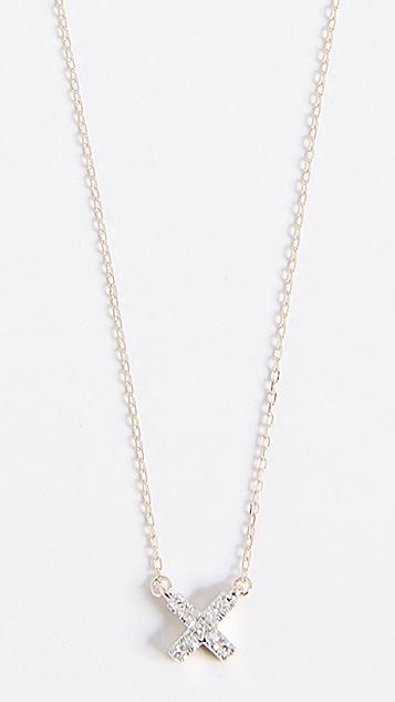 Adina Reyter 14k Gold Super Tiny Solid Pave X Necklace