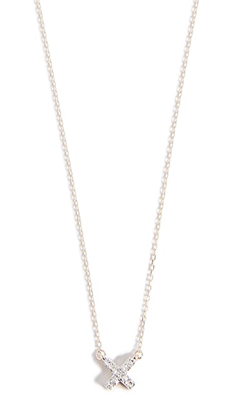 ADINA REYTER 14K Gold Super Tiny Solid Pave X Necklace in Yellow Gold