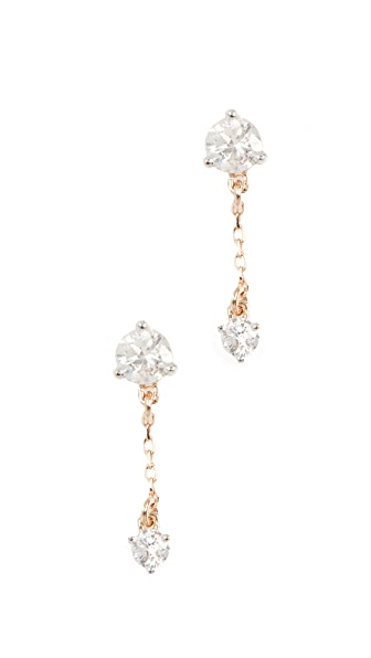 Adina Reyter 14k Gold Diamond Amigos Chain Post Earrings In Yellow Gold