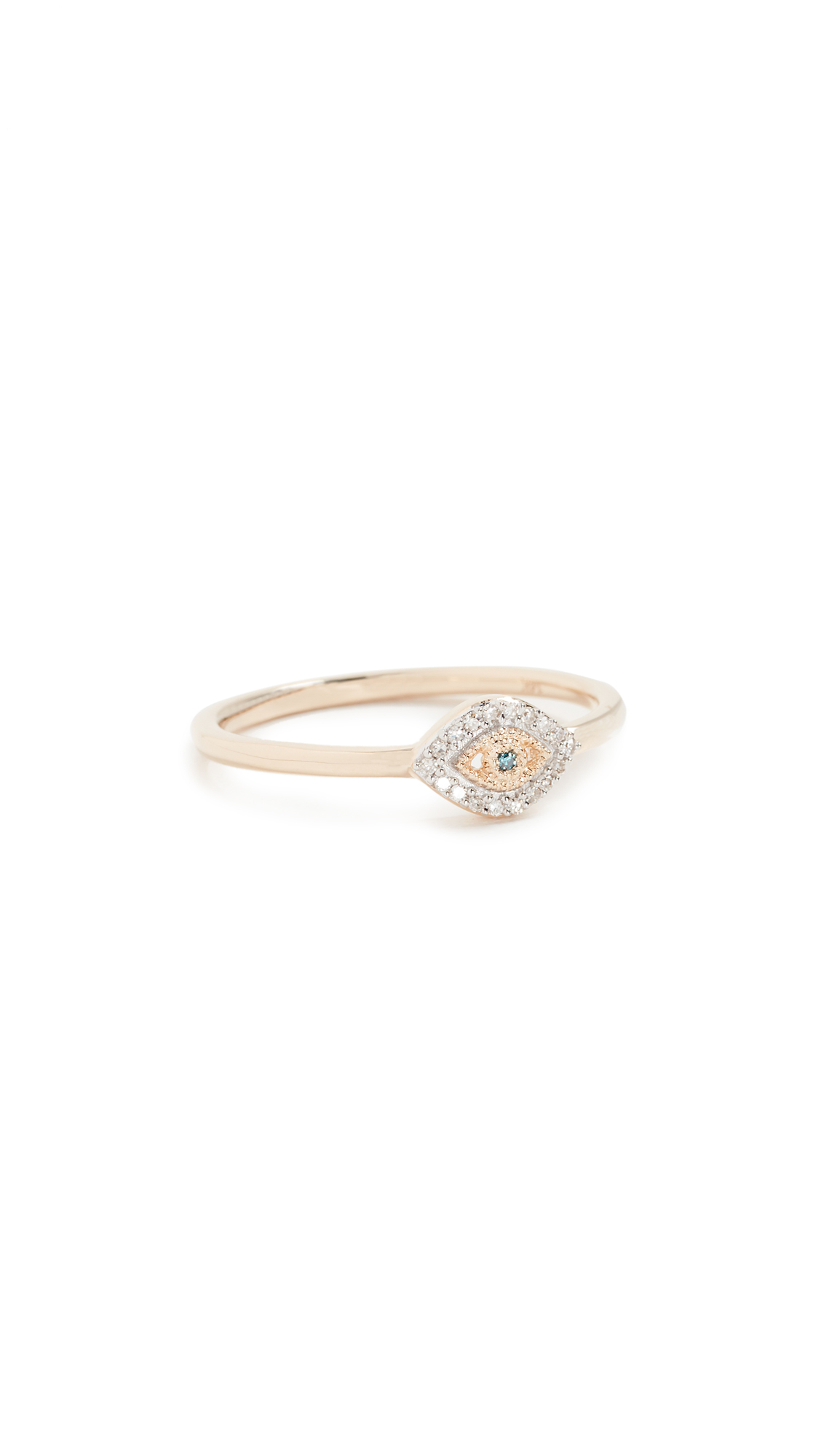 ADINA REYTER 14K Gold Super Tiny Pave Evil Eye Ring in Yellow Gold