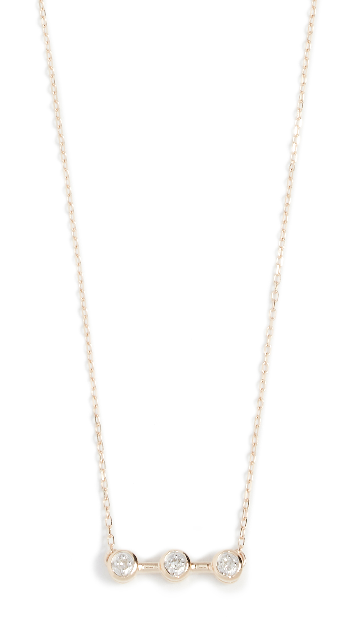 ADINA REYTER 14K GOLD THREE DIAMOND NECKLACE