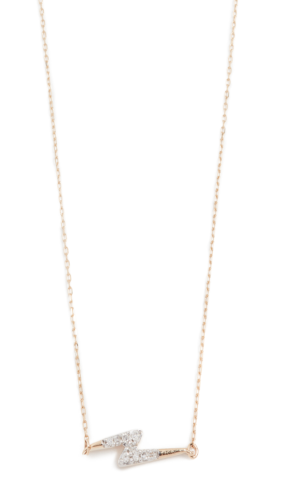 ADINA REYTER 14K GOLD PAVE LIGHTNING BOLT NECKLACE