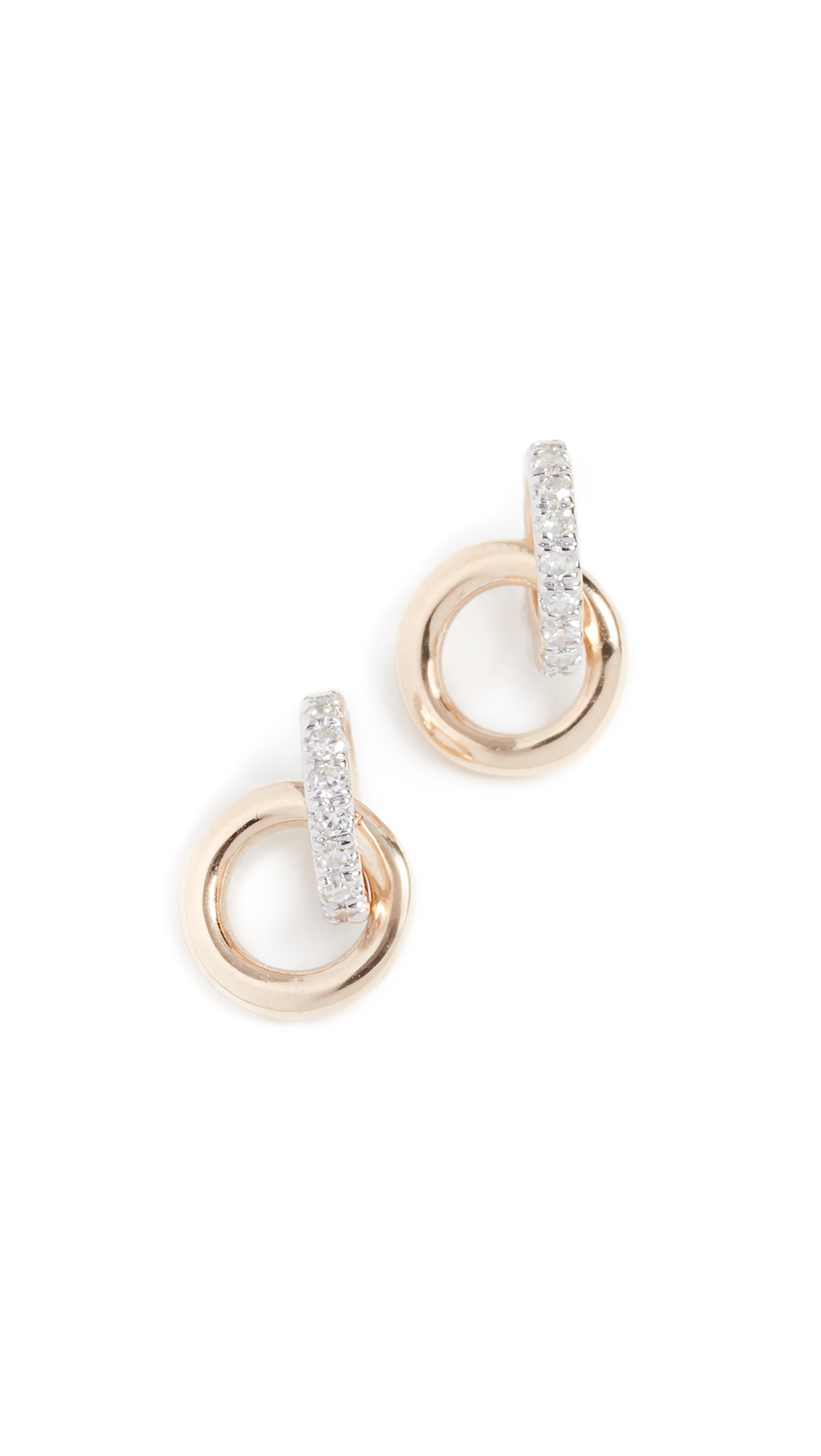 ADINA REYTER 14K DIAMOND INTERLOCKING LOOP POST EARRINGS