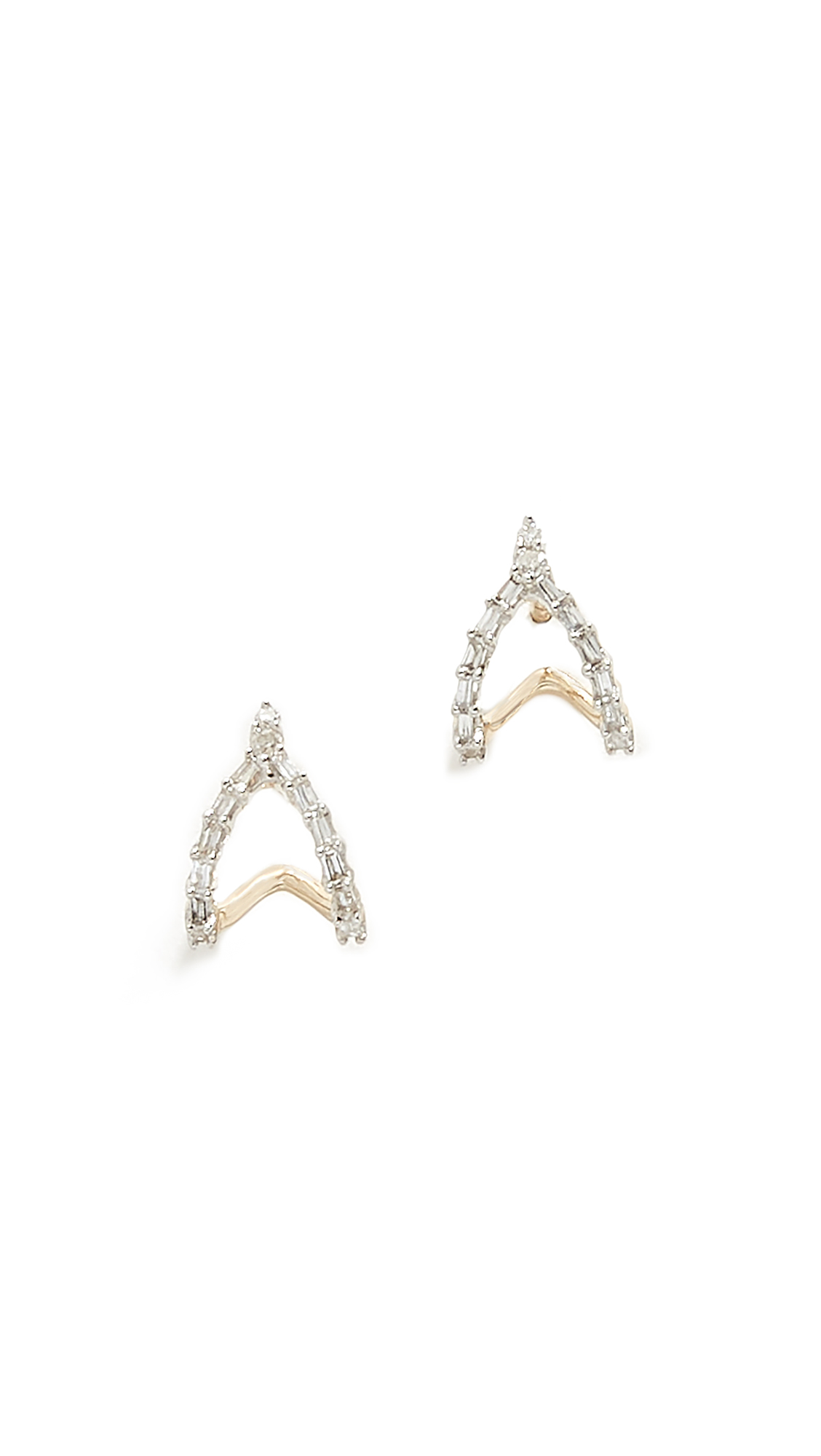 ADINA REYTER 14K BAGUETTE DOUBLE J HOOP EARRINGS