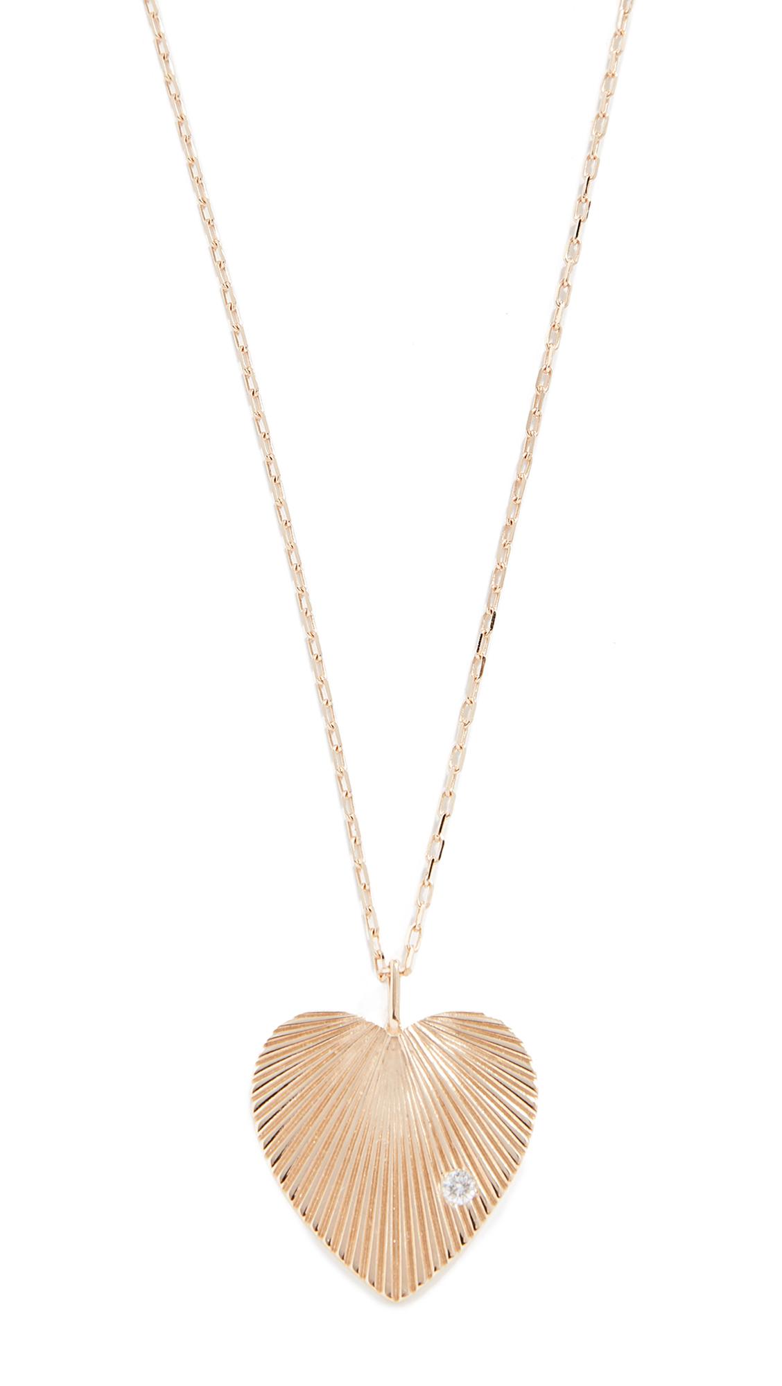 ADINA REYTER 14K Large Diamond Heart Necklace, Yellow Gold