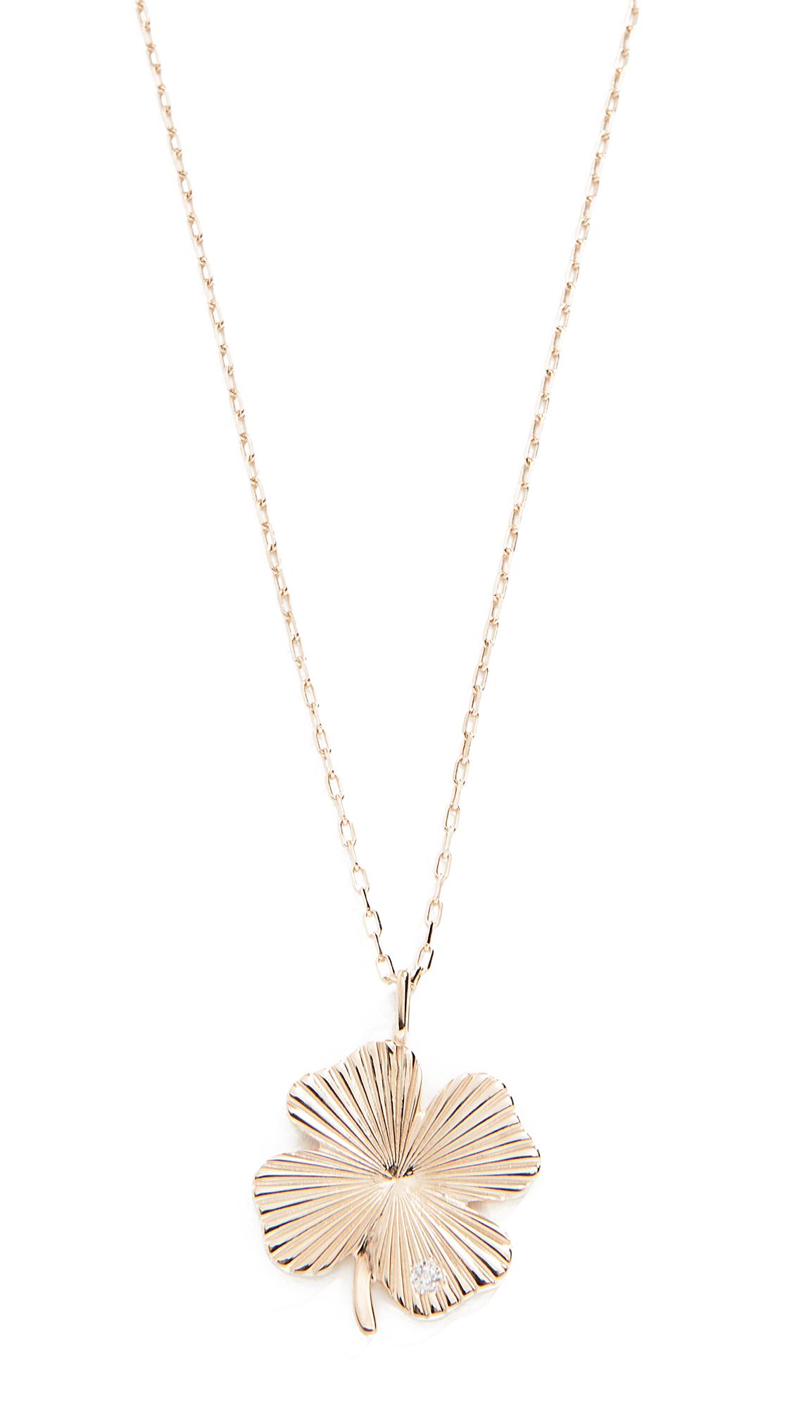 ADINA REYTER 14K Large Diamond Clover Necklace, Yellow Gold