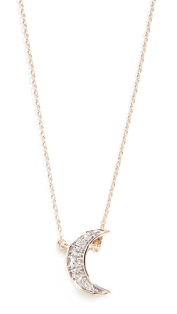 ADINA REYTER 14K Tiny Pavé Crescent Necklace, Yellow Gold