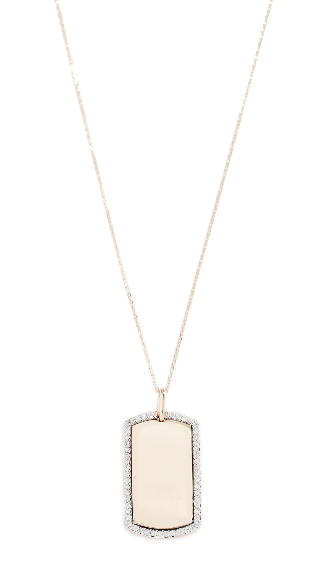 ADINA REYTER 14K Diamond Dog Tag Necklace in Gold