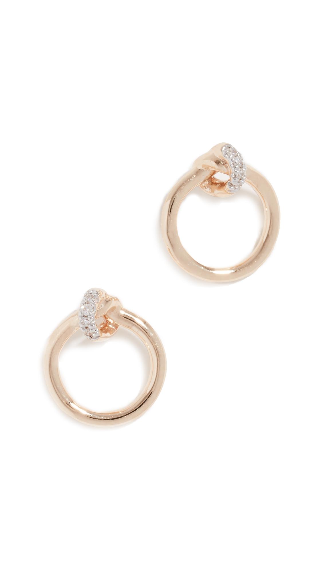 ADINA REYTER 14K Diamond Pave Loop Post Earrings in Yellow Gold