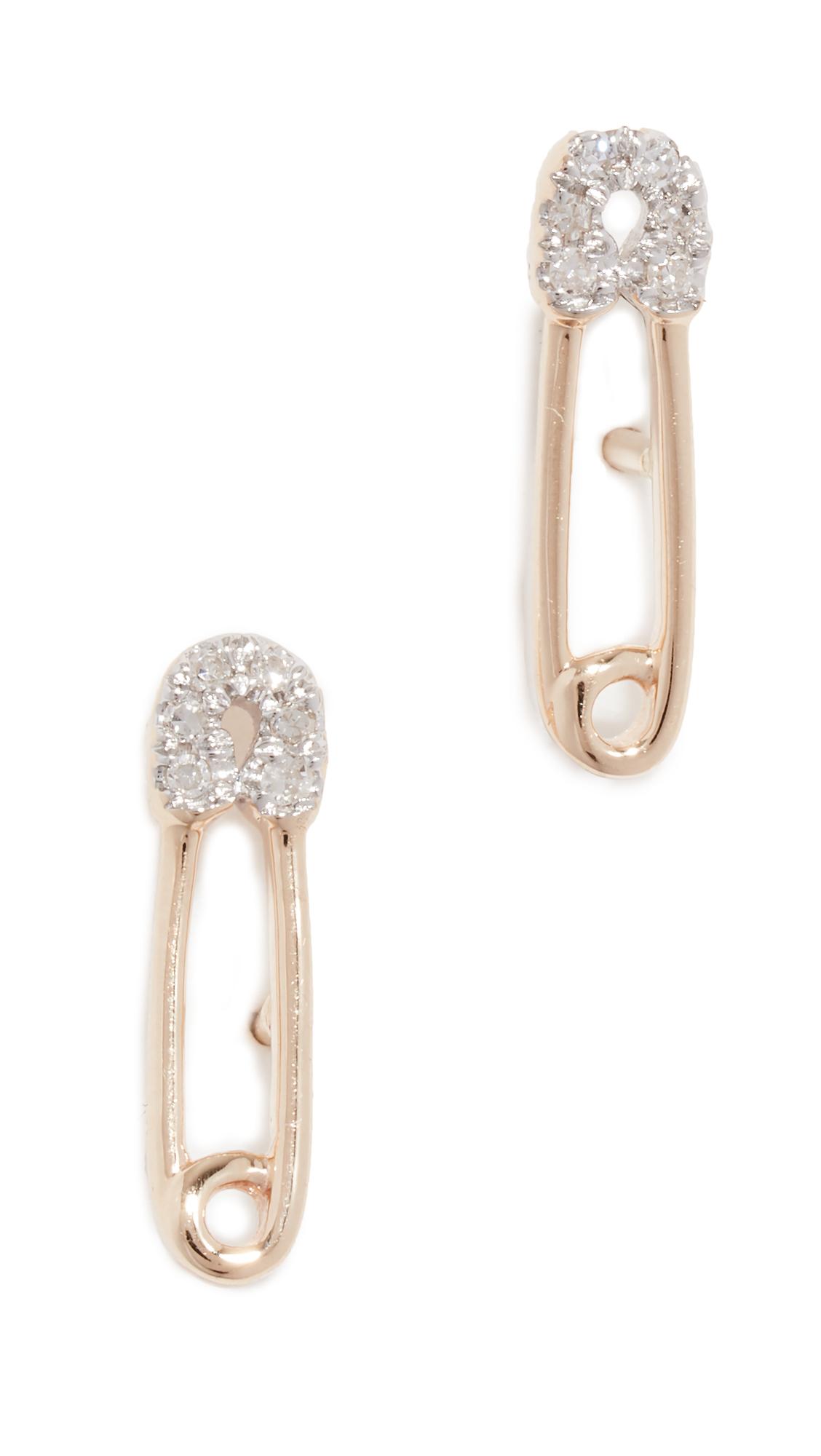 ADINA REYTER 14K Diamond Safety Pin Post Earrings in Yellow Gold