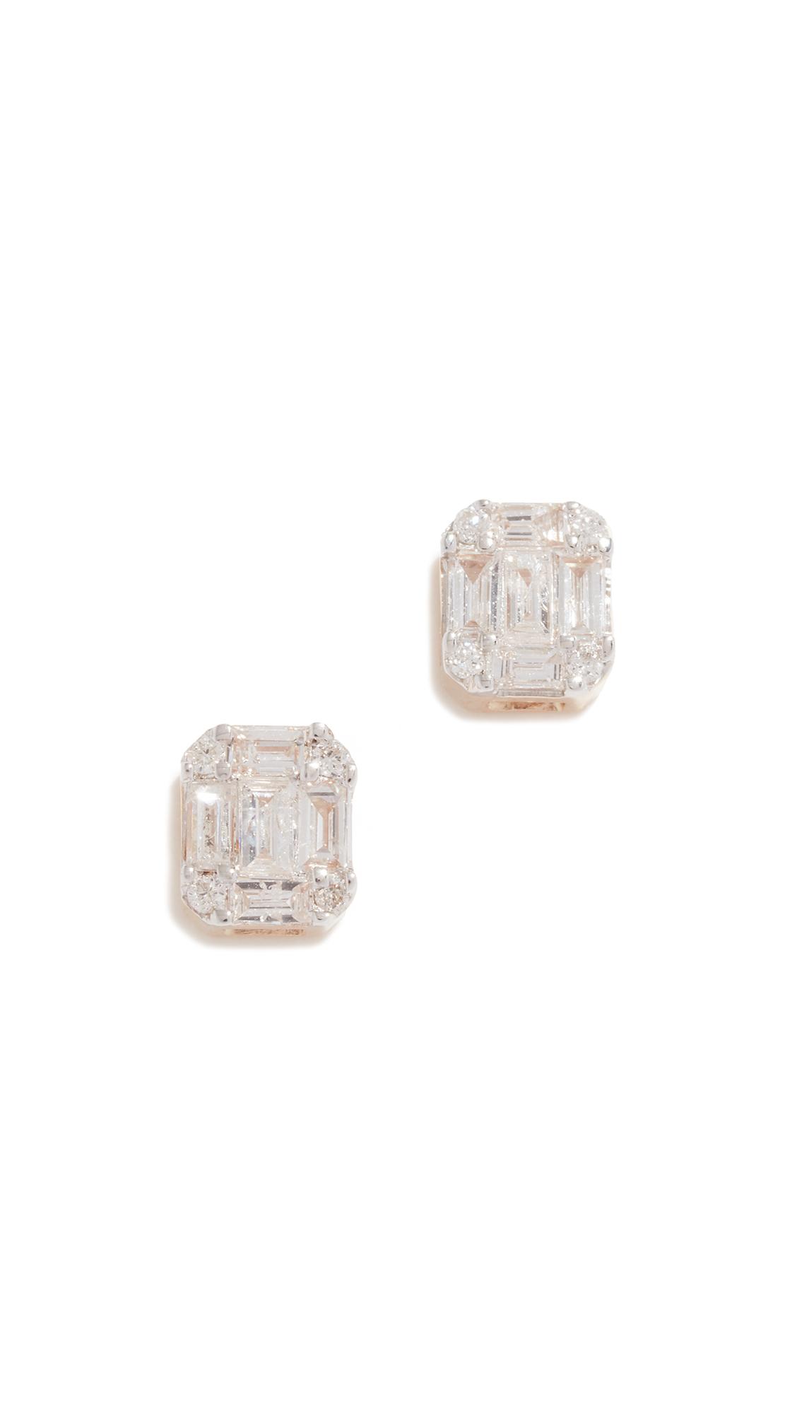 ADINA REYTER 14K Gold Diamond Baguette Stud Earrings in Yellow Gold