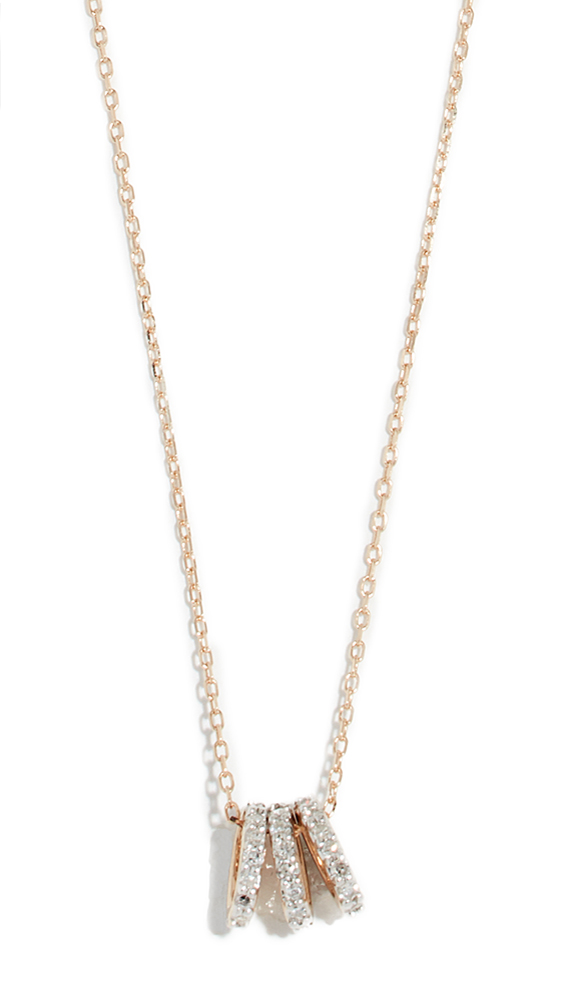 ADINA REYTER 14K Tiny 3 Pavé Beads Necklace in Yellow Gold