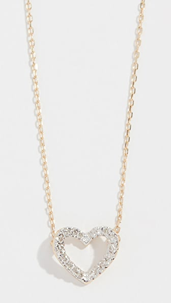 Adina Reyter 14K TINY PAVÉ OPEN FOLDED HEART NECKLACE