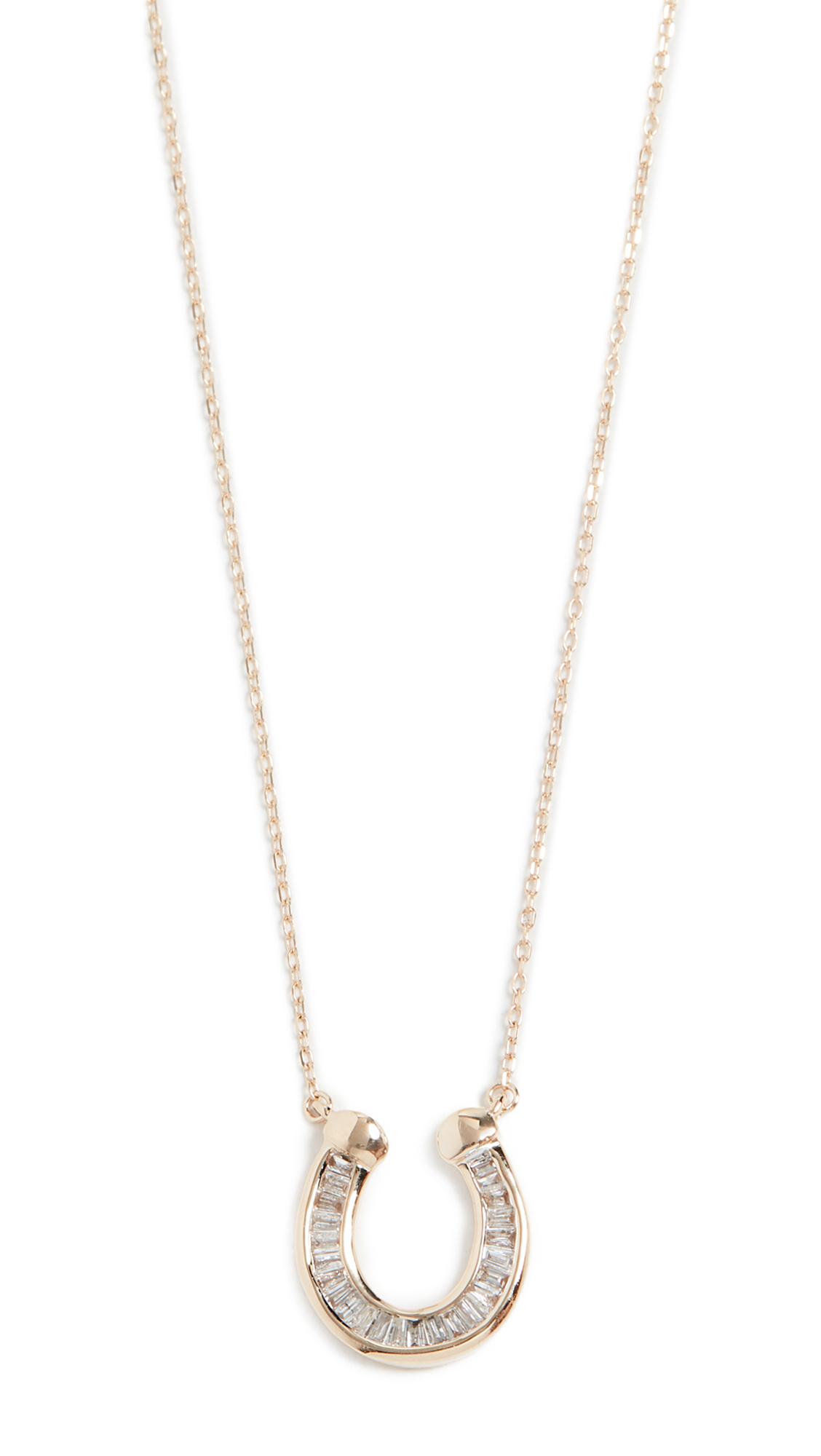 Adina Reyter Baguette Horseshoe Necklace - Yellow Gold