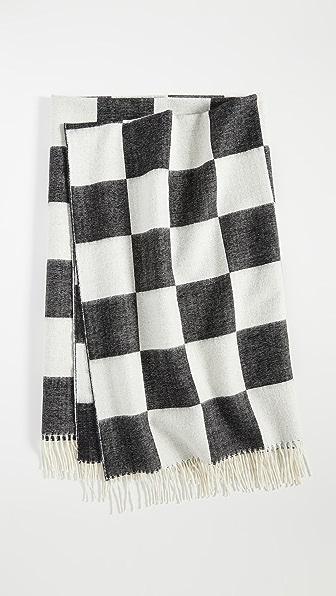 Jonathan Adler Checkerboard Baby Alpaca Throw Blanket In Black/white