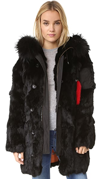 Adrienne Landau Fur Parka - Black at Shopbop