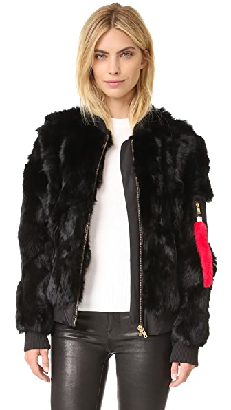 Adrienne Landau Rabbit Bomber Jacket - Black at Shopbop