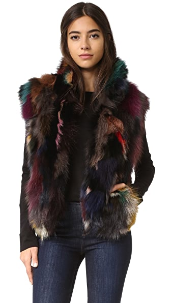 Adrienne Landau Textured Fox Vest - Multi at Shopbop