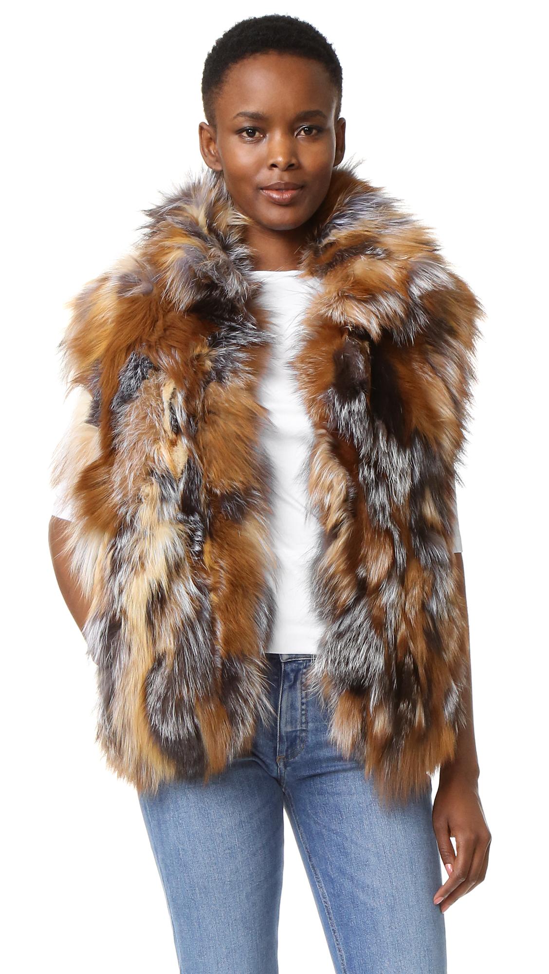 Adrienne Landau Morgan Fox Vest - Silver/Crystal at Shopbop