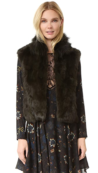 Adrienne Landau Textured Rabbit Vest - Dark Green at Shopbop