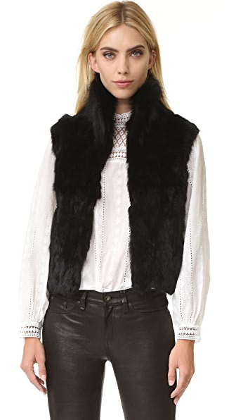 Adrienne Landau Textured Rabbit Vest - Black at Shopbop