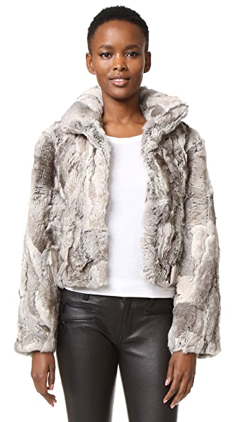 Adrienne Landau Textured Rabbit Jacket - Plucked Natural at Shopbop