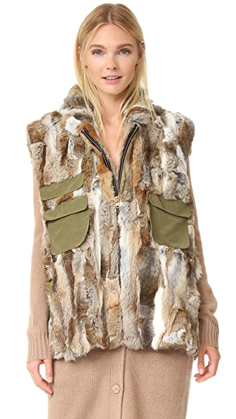 Adrienne Landau Rabbit Army Vest - Natural Brown at Shopbop
