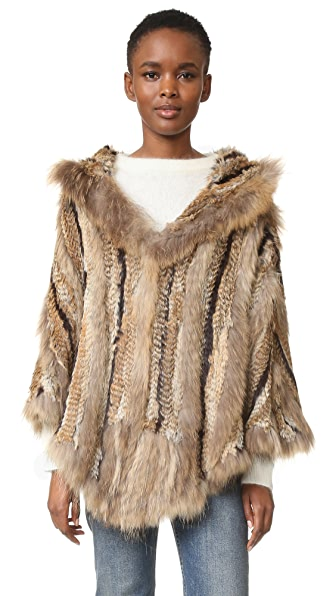 Adrienne Landau Hooded Fur Poncho In Multi