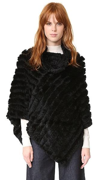 Adrienne Landau Knit Fur Poncho at Shopbop