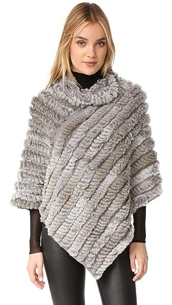 Adrienne Landau Knit Fur Poncho