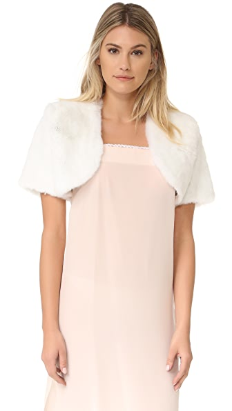Adrienne Landau Rex Fur Bolero Top - White at Shopbop