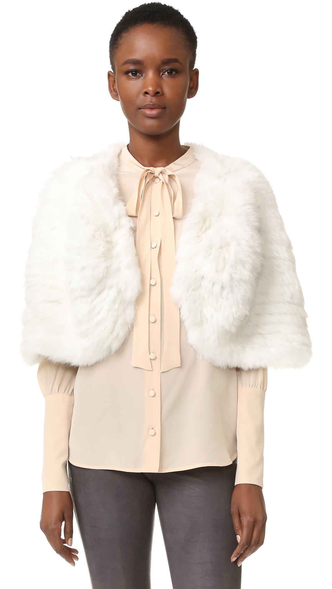 Adrienne Landau Knit Fur Capelet - White