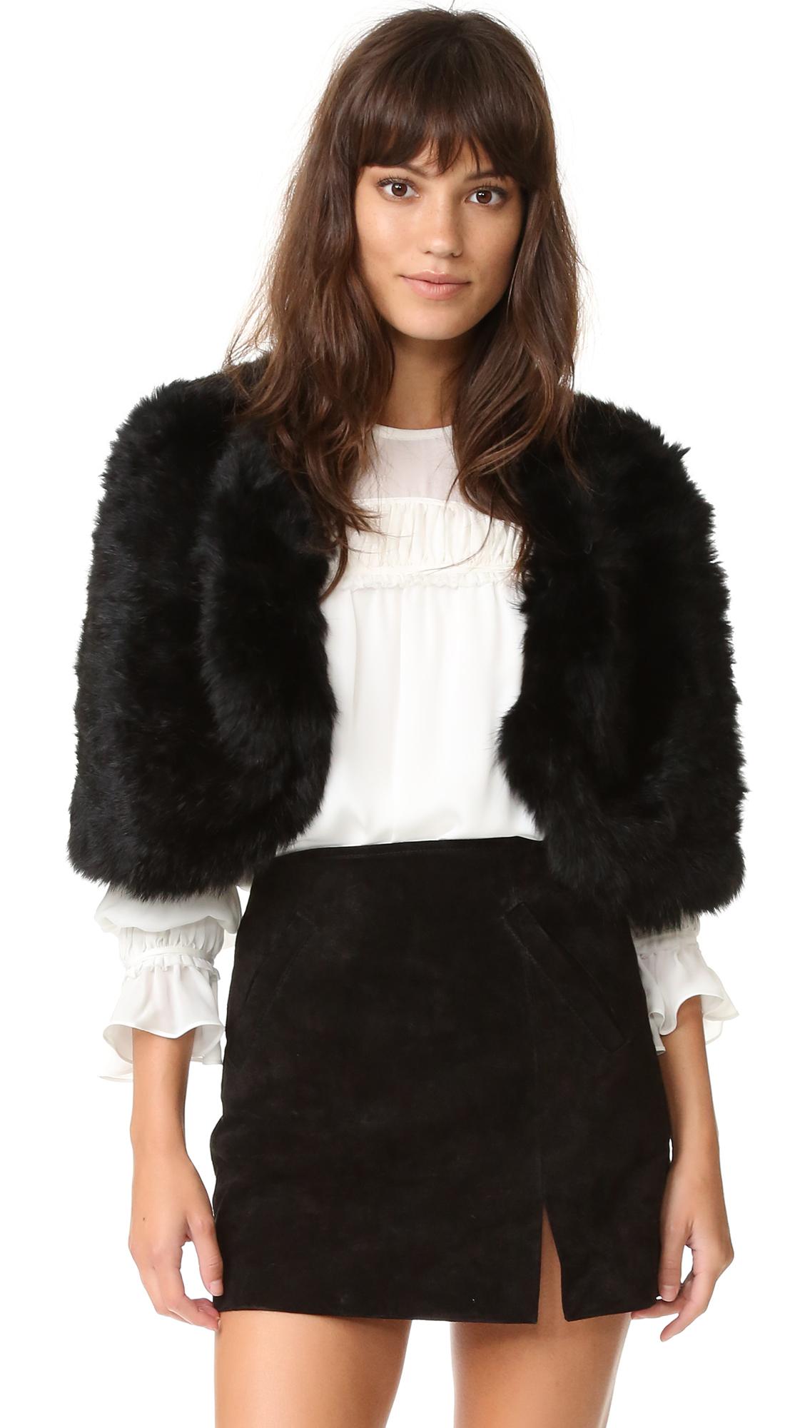 Adrienne Landau Knit Fur Capelet - Black